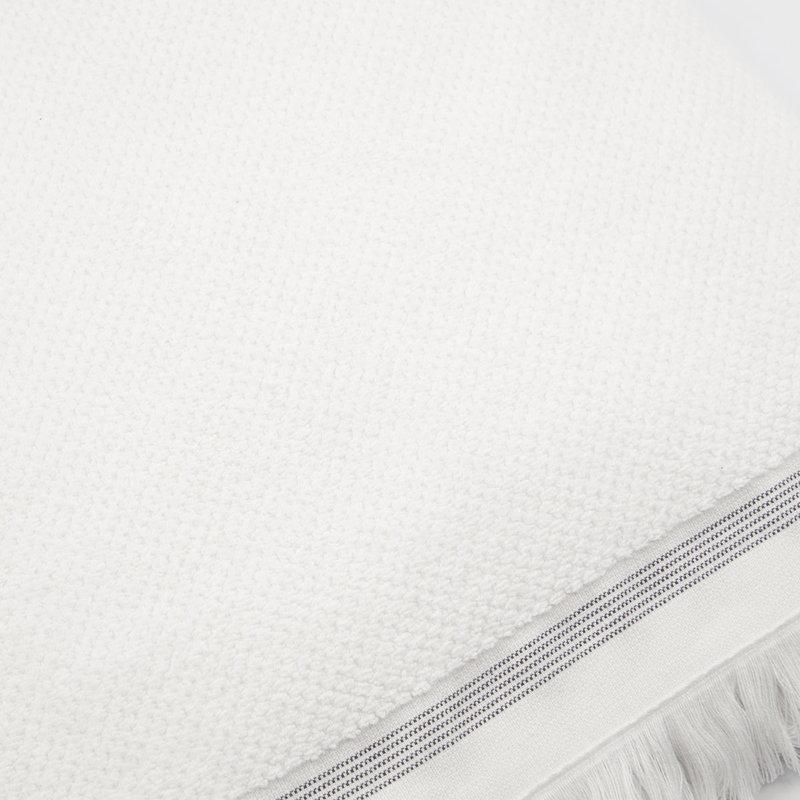 Meraki Towel, 100x180 cm, White w. grey stripes