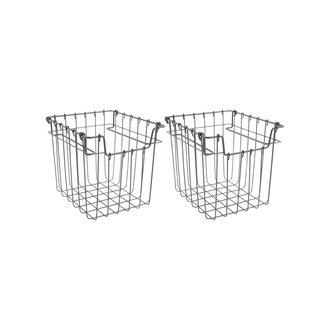 Monograph Metal basket, Addit, Grey, Set of 2 pcs