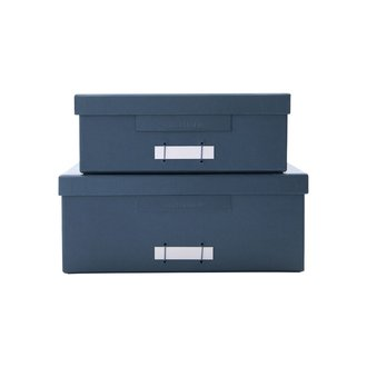 Monograph Boxes w. lids, File, Blue/Petrol, Set of 2 sizes