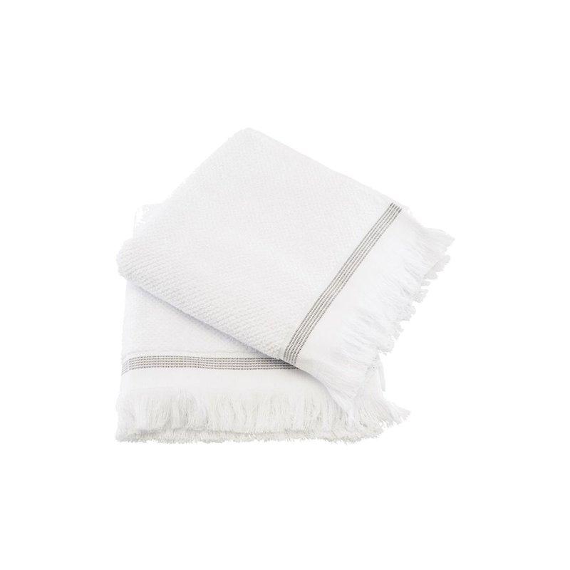 Meraki Handdoek, 50x100 cm, Wit met grijze strepen