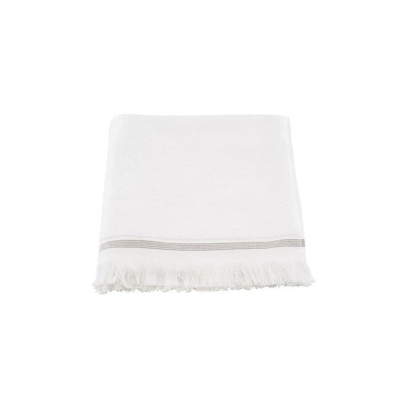 Meraki Handdoek, 70x140 cm, Wit met grijze strepen