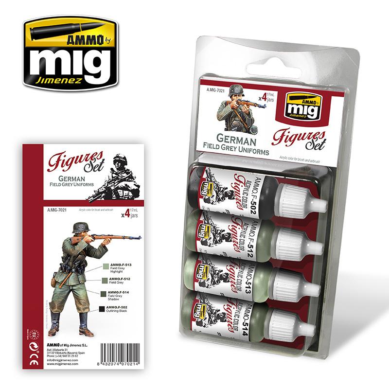 Ammo by Mig Jimenez Figure Paint Sets - GERMAN FIELD GREY UNIFORMS - A.MIG-7021