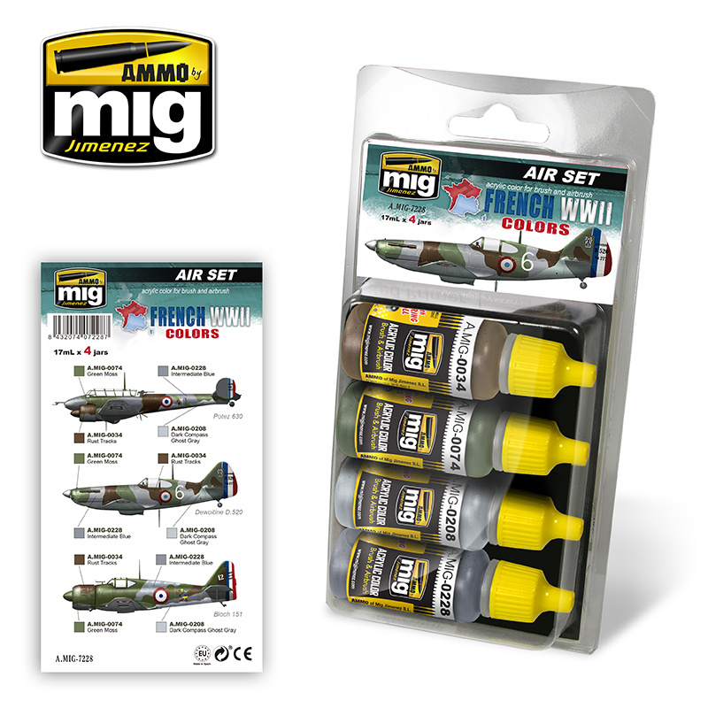 Ammo by Mig Jimenez Aircraft Paint Sets - French WWII Aircraft Colors - A.MIG-7228