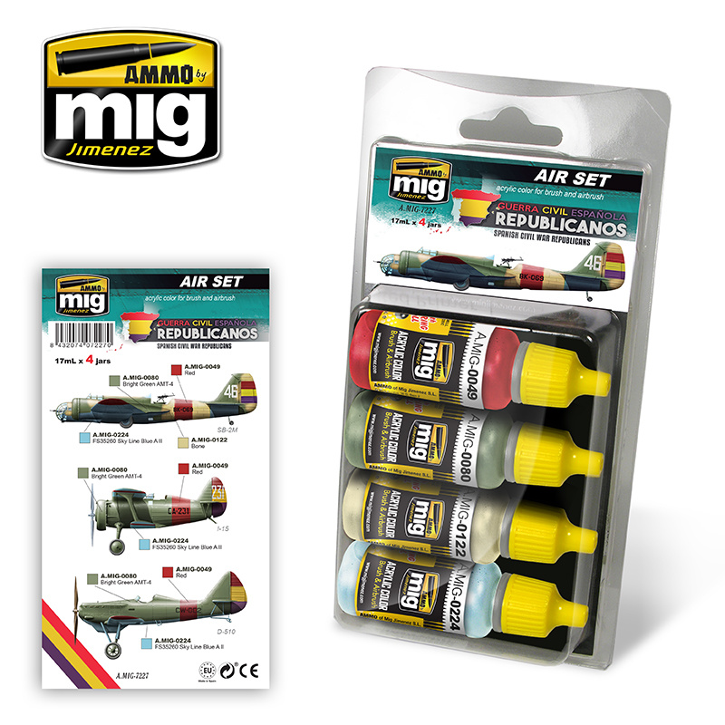 Ammo by Mig Jimenez Aircraft Paint Sets - SPANISH CIVIL WAR - REPUBLICAN AIRCRAFTS - A.MIG-7227