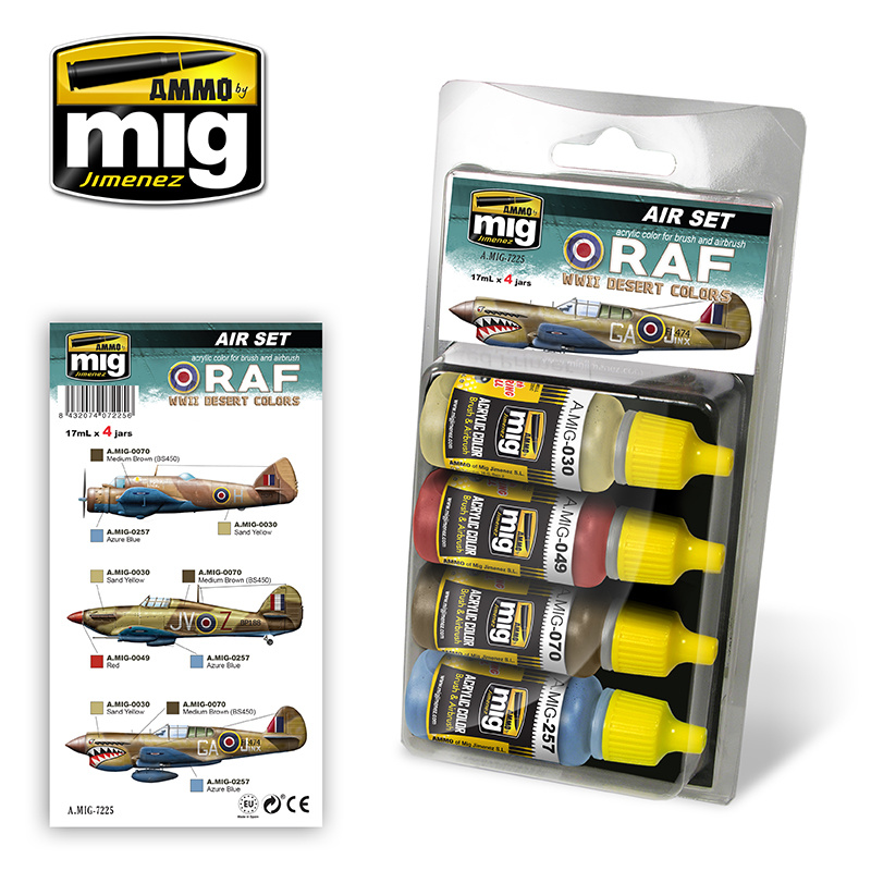 Ammo by Mig Jimenez Aircraft Paint Sets - RAF WWII DESERT COLORS - A.MIG-7225