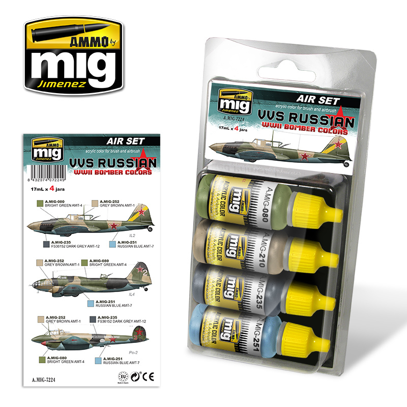 Ammo by Mig Jimenez Aircraft Paint Sets - VVS Russian WWII Bomber Colors - A.MIG-7224