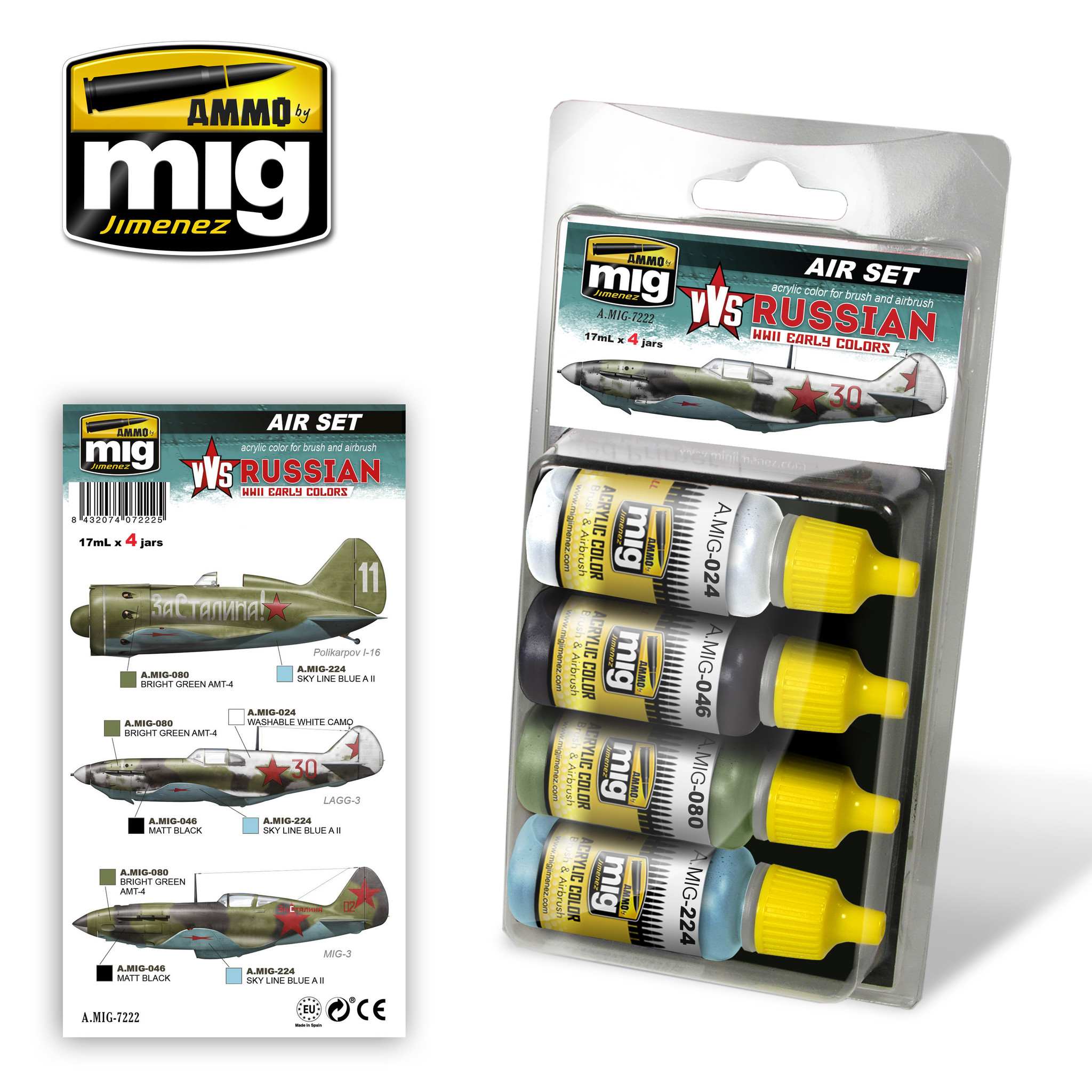 Ammo by Mig Jimenez Aircraft Paint Sets - VVS WWII Russian Early Aircraft - A.MIG-7222