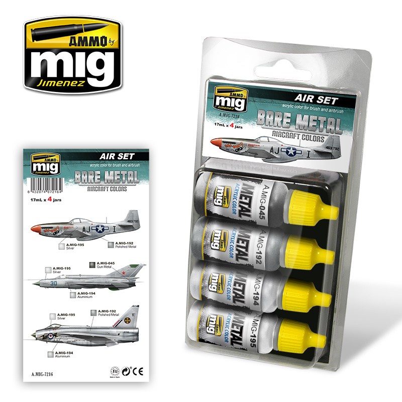 Ammo by Mig Jimenez Aircraft Paint Sets - Bare Metal Aircraft Colors - A.MIG-7216
