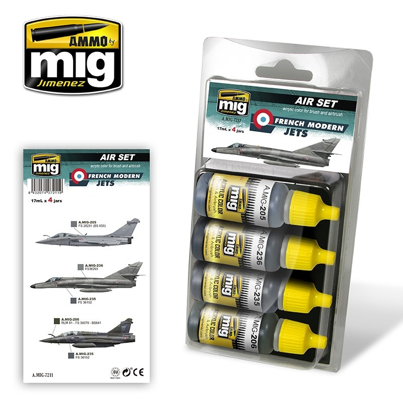 Ammo by Mig Jimenez Aircraft Paint Sets - French Modern Jets - A.MIG-7211
