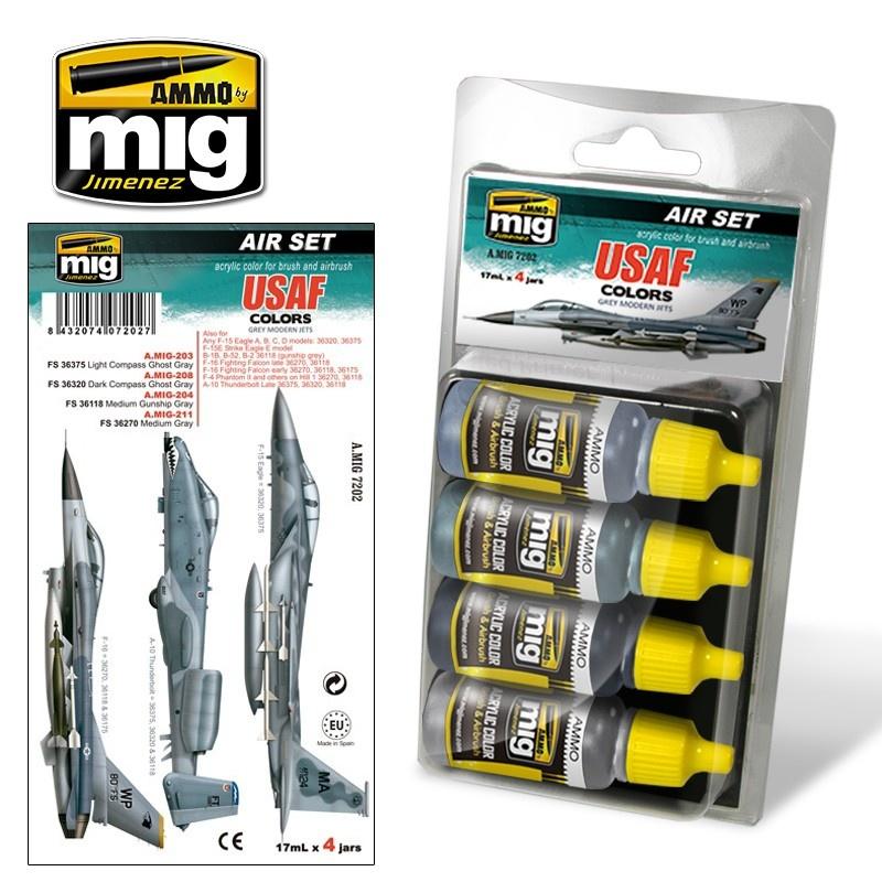 Ammo by Mig Jimenez Aircraft Paint Sets - USAF Set 1: Grey Modern Jets - A.MIG-7202