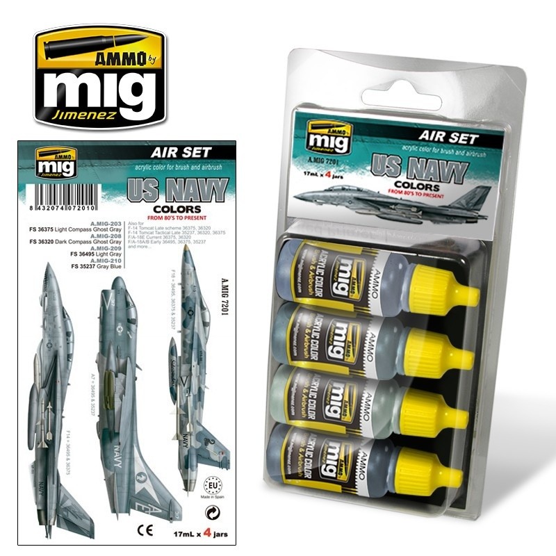 Ammo by Mig Jimenez Aircraft Paint Sets - USN Set 1: From 80''s To Present - A.MIG-7201