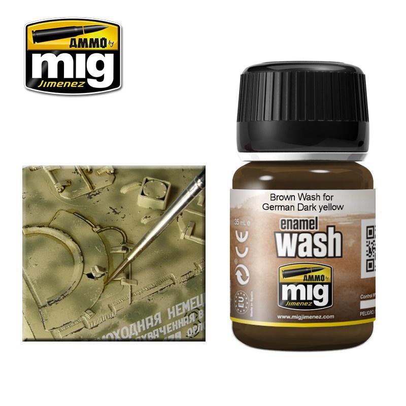 Ammo by Mig Jimenez Brown Wash For German Dark Yellow - A.MIG-1000