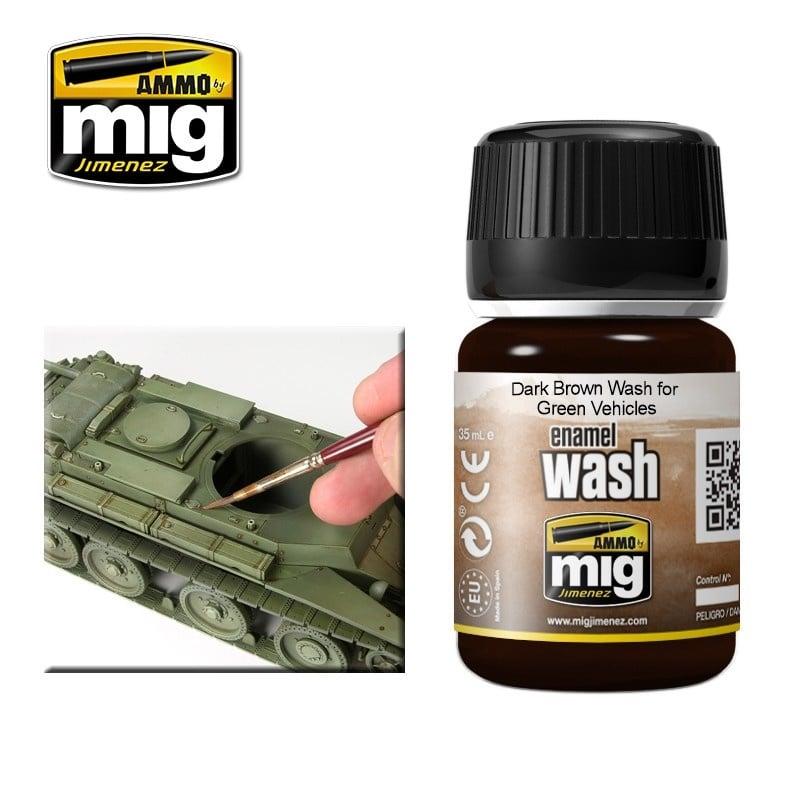 Ammo by Mig Jimenez Dark Brown Wash For Green Vehicles - A.MIG-1005