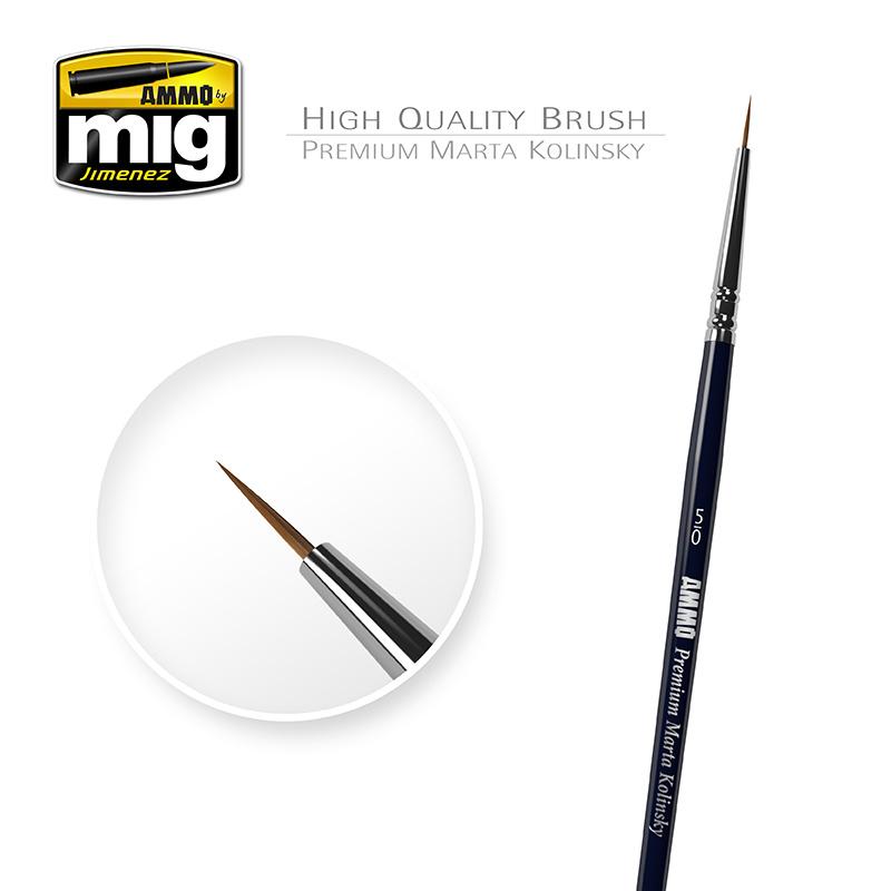 Ammo by Mig Jimenez 5/0 Premium Marta Kolinsky Round Brush A.MIG-8600