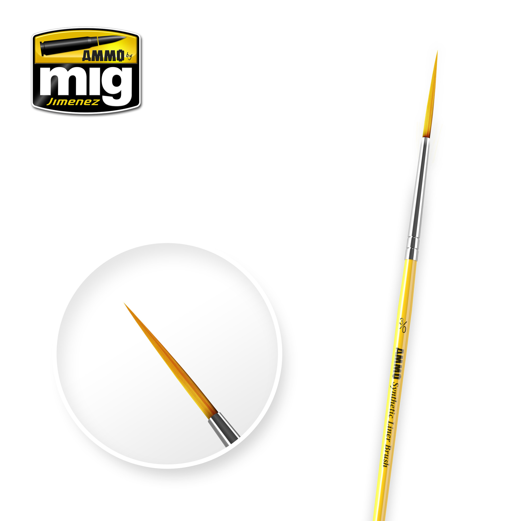 Ammo by Mig Jimenez 3/0 Syntetic Liner Brush - A.MIG-8590