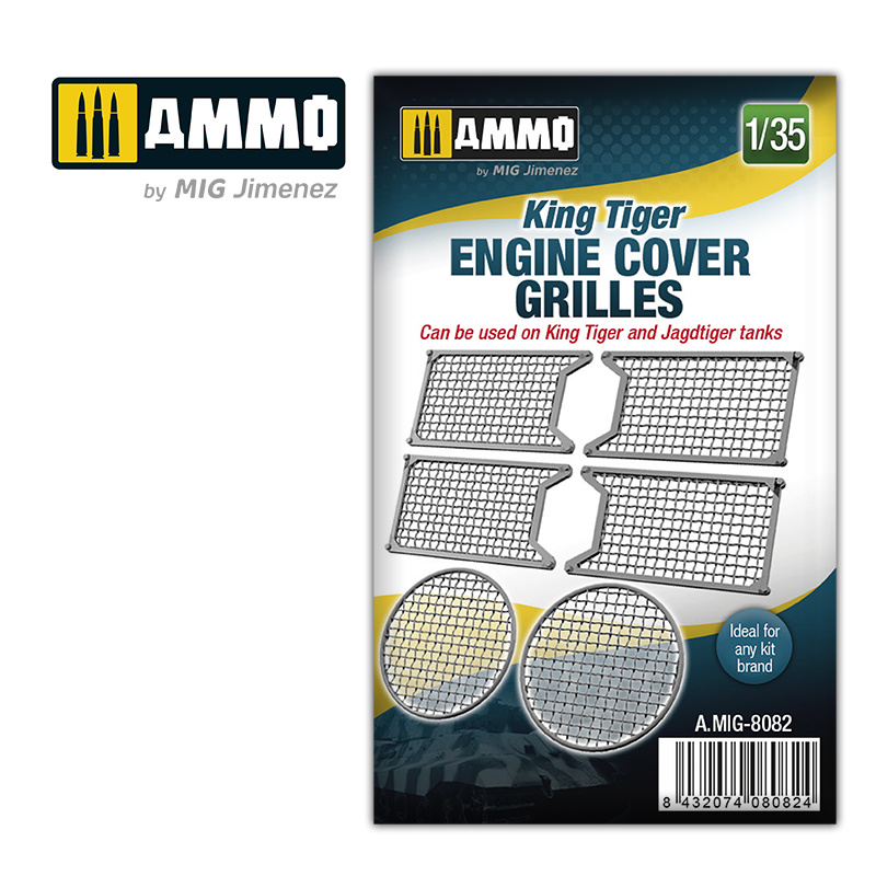 Ammo by Mig Jimenez King Tiger engine cover grilles - Scale 1/35 - Ammo by Mig Jimenez - A.MIG-8082