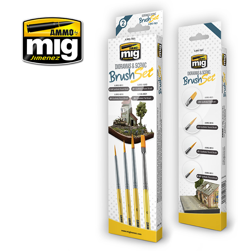 Ammo by Mig Jimenez Dioramas And Scenic Brush Set - A.MIG-7601