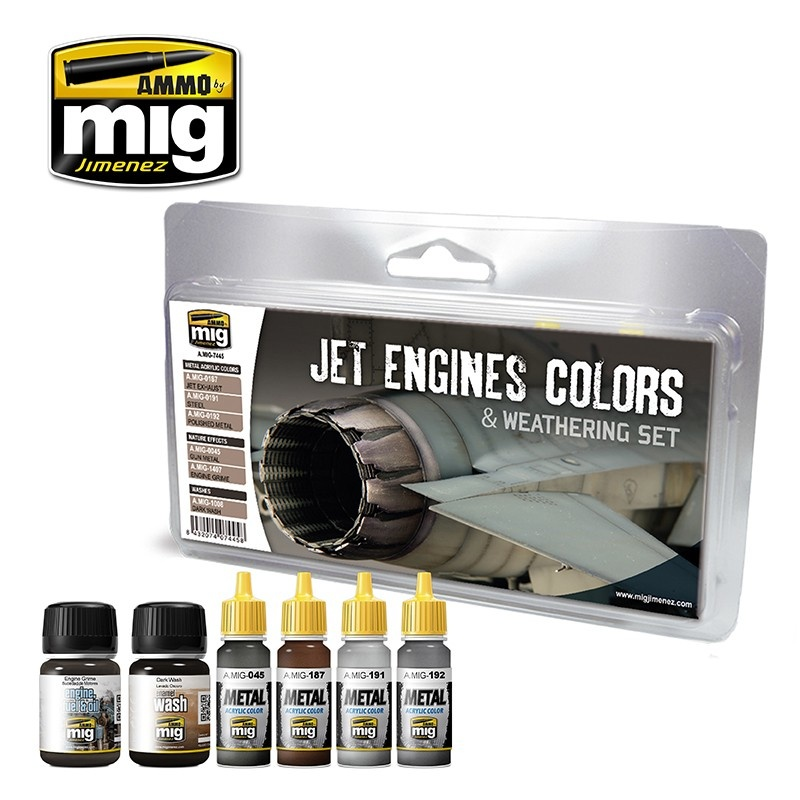 Ammo by Mig Jimenez Airplane Weathering Sets - Jet Engines Colors And Weathering Set - A.MIG-7445
