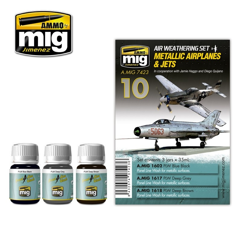 Ammo by Mig Jimenez Airplane Weathering Sets - Metallic Airplanes & Jets - A.MIG-7423