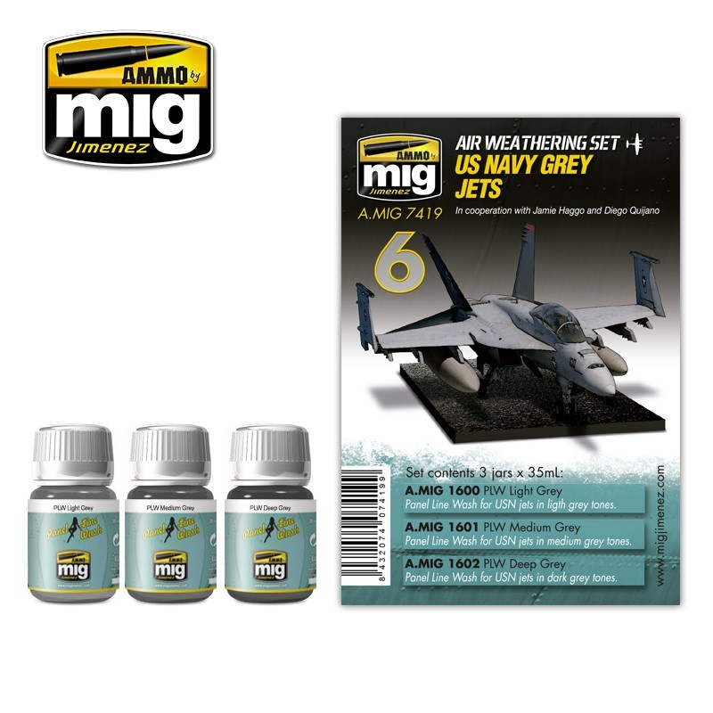 Ammo by Mig Jimenez Airplane Weathering Sets - Us Navy Grey Jets - A.MIG-7419