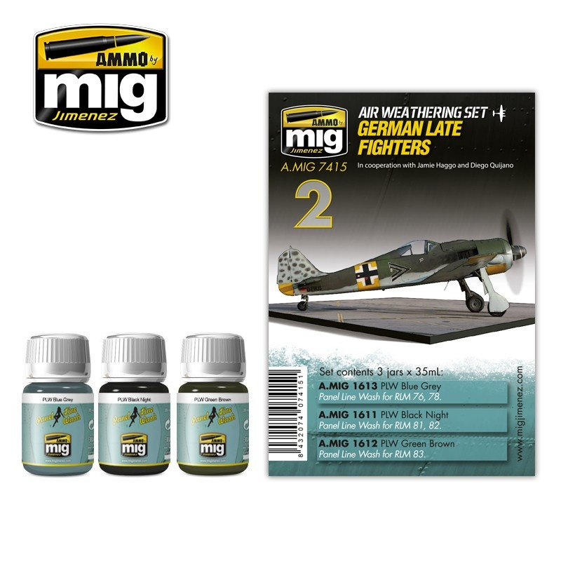 Ammo by Mig Jimenez Airplane Weathering Sets - German Late Fighters - A.MIG-7415