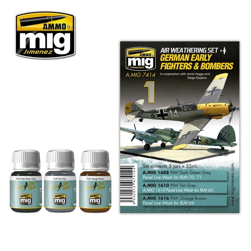 Ammo by Mig Jimenez Airplane Weathering Sets - German Early Fighters And Bombers - A.MIG-7414