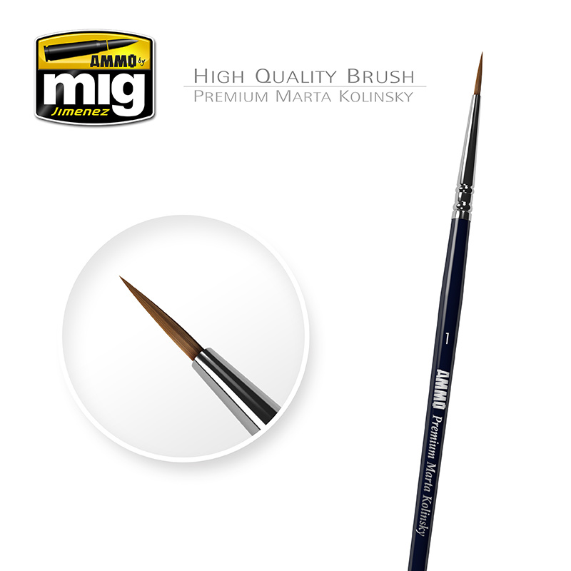 Ammo by Mig Jimenez 1/0 Premium Marta Kolinsky Round Brush A.MIG-8602