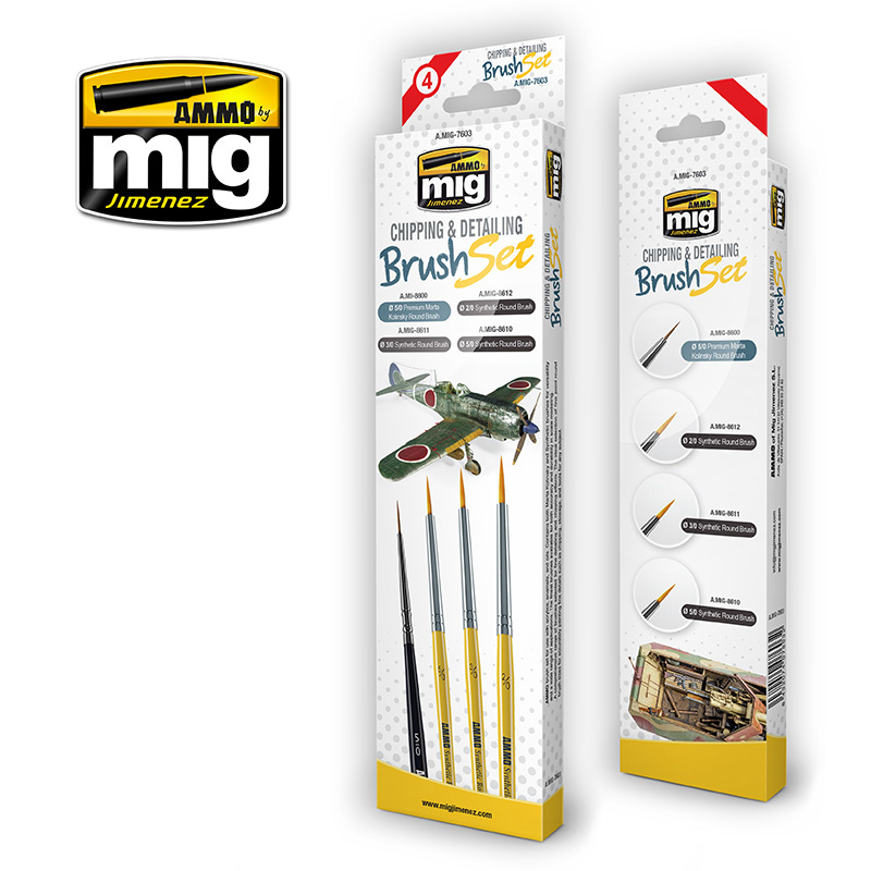 Ammo by Mig Jimenez Chipping And Detailing Brush Set - A.MIG-7603