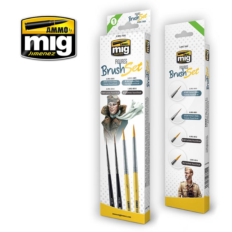Ammo by Mig Jimenez Figures Brush Set - A.MIG-7600