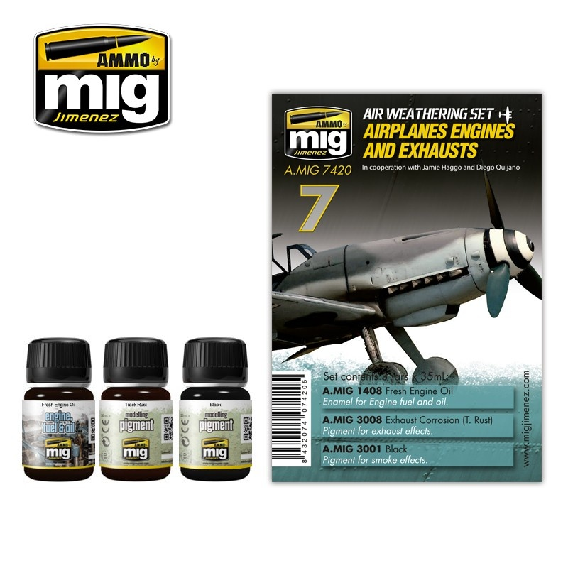 Ammo by Mig Jimenez Airplane Weathering Sets - Airplanes Engines And Exhausts - A.MIG-7420