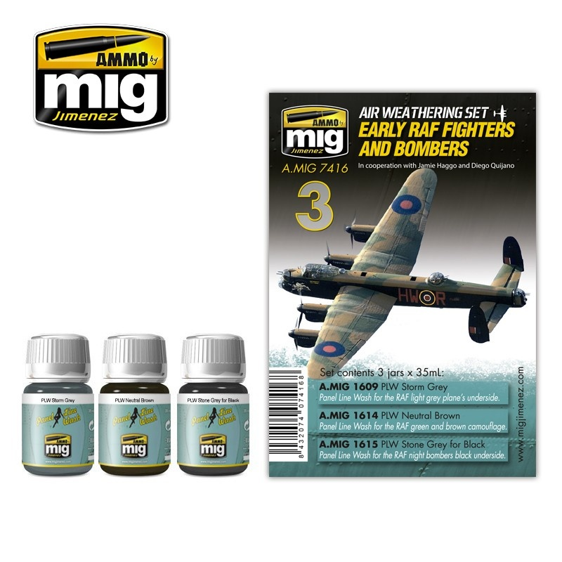 Ammo by Mig Jimenez Airplane Weathering Sets - Early Raf Fighters And Bombers - A.MIG-7416