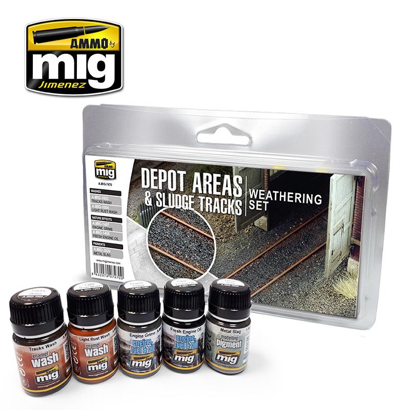 Ammo by Mig Jimenez Depot Areas - Sludge Tracks Weathering Set - Ammo by Mig Jimenez - A.MIG-7470