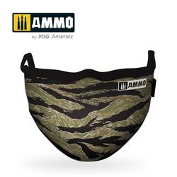 "Ammo Face Mask ""Tiger Camo"" (Hygienic Protective Mask 100% Polyester) - Ammo by Mig Jimenez - A.MIG-8069"