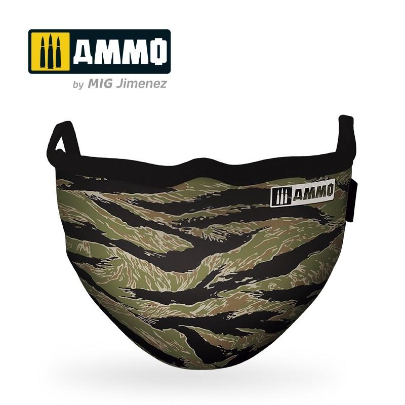 "Ammo by Mig Jimenez Ammo Face Mask ""Tiger Camo"" (Hygienic Protective Mask 100% Polyester) - Ammo by Mig Jimenez - A.MIG-8069"