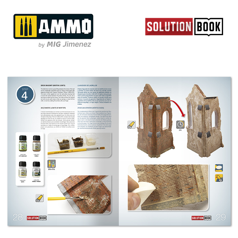 Ammo by Mig Jimenez solution Book 08 How To Paint Brick Buildings. Colors And Weathering System - Multilingual Book - Ammo by Mig Jimenez - A.MIG-6510