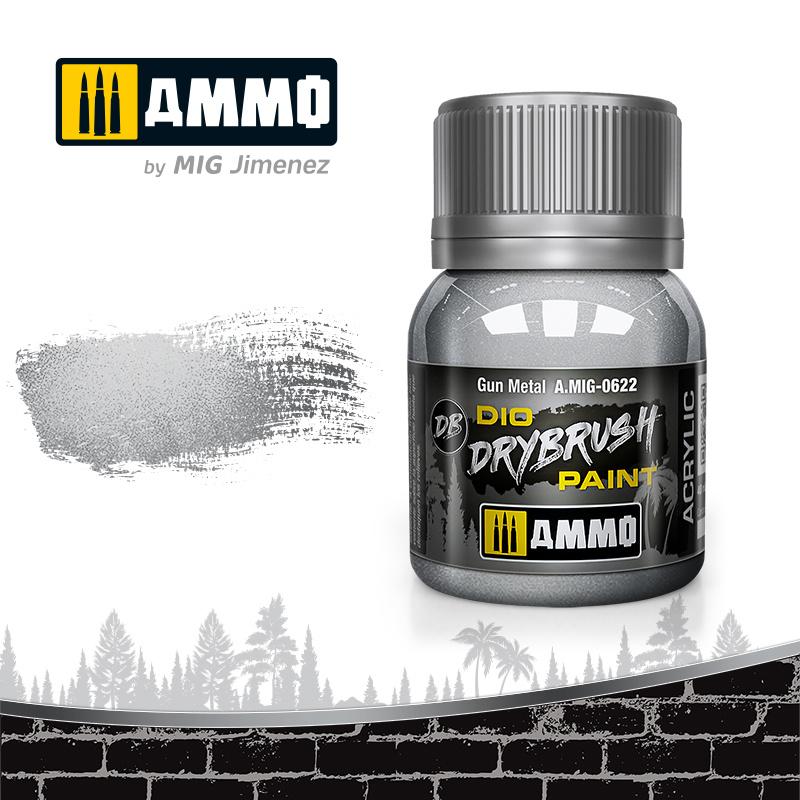 Ammo by Mig Jimenez Drybrush Gun Metal - 40ml - Ammo by Mig Jimenez - A.MIG-0622