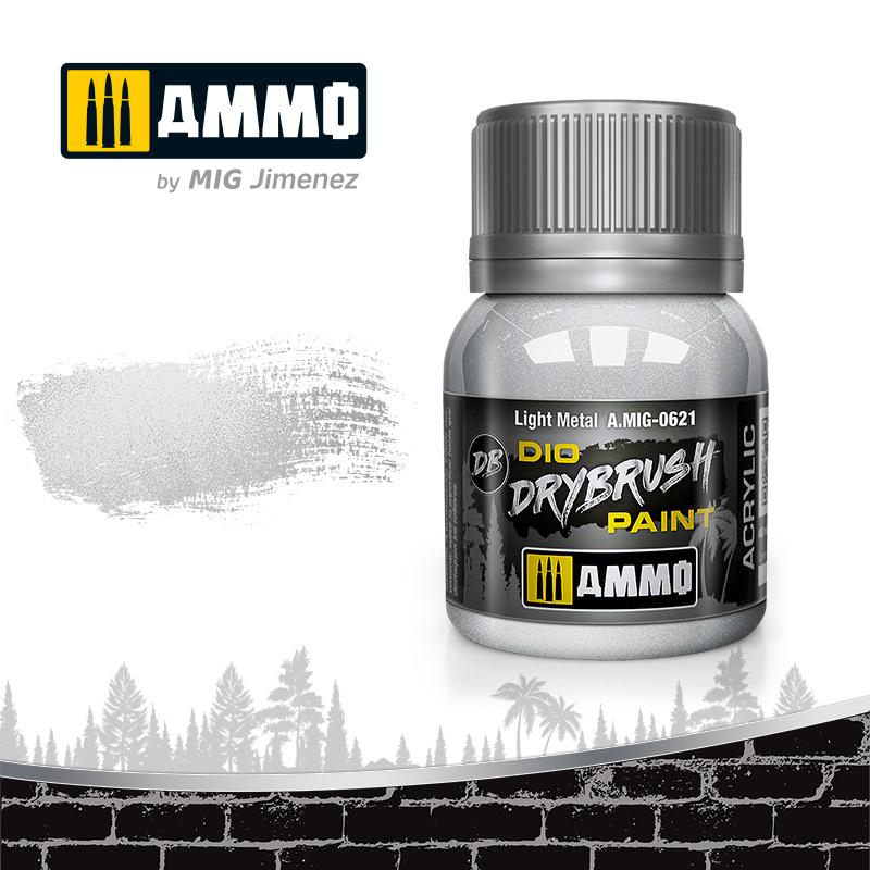 Ammo by Mig Jimenez Drybrush Light Metal - 40ml - Ammo by Mig Jimenez - A.MIG-0621