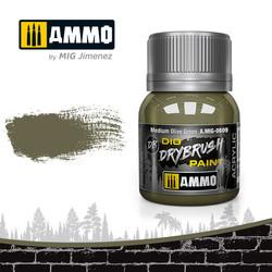 Drybrush Medium Olive Green - 40ml - Ammo by Mig Jimenez - A.MIG-0609