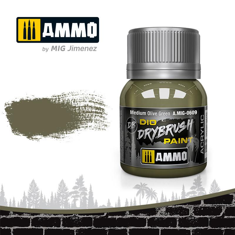 Ammo by Mig Jimenez Drybrush Medium Olive Green - 40ml - Ammo by Mig Jimenez - A.MIG-0609