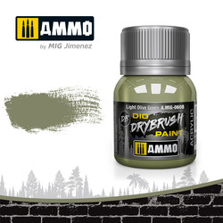 Drybrush Light Olive Green - 40ml - Ammo by Mig Jimenez - A.MIG-0608