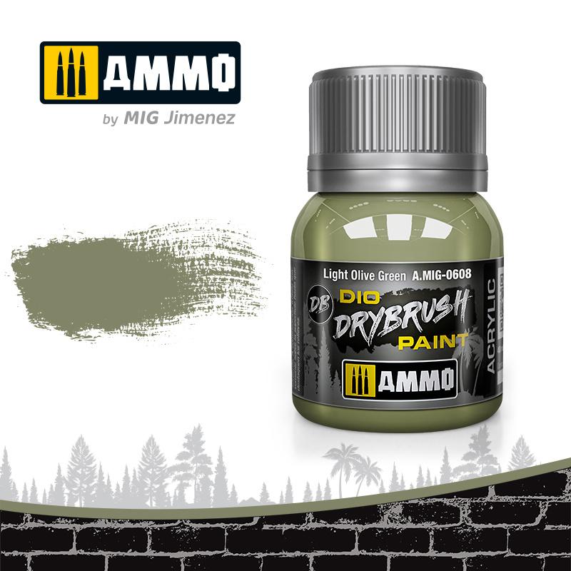 Ammo by Mig Jimenez Drybrush Light Olive Green - 40ml - Ammo by Mig Jimenez - A.MIG-0608