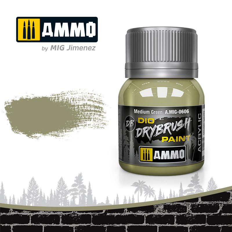 Ammo by Mig Jimenez Drybrush Medium Green - 40ml - Ammo by Mig Jimenez - A.MIG-0606
