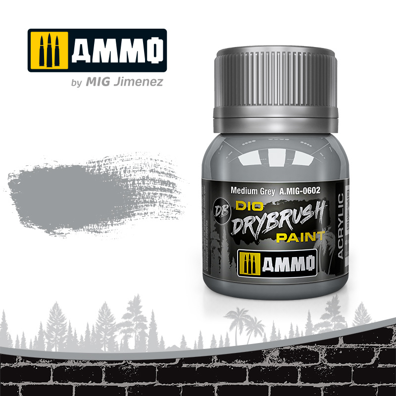 Ammo by Mig Jimenez Drybrush Medium Grey - 40ml - Ammo by Mig Jimenez - A.MIG-0602