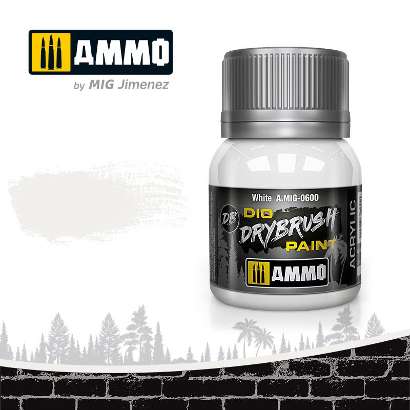 Ammo by Mig Jimenez Drybrush White - 40ml - Ammo by Mig Jimenez - A.MIG-0600