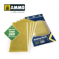 Masking Sheets 1mm Grid - 5 Sheets 290X145mm (Adhesive) - Ammo by Mig Jimenez - A.MIG-8045