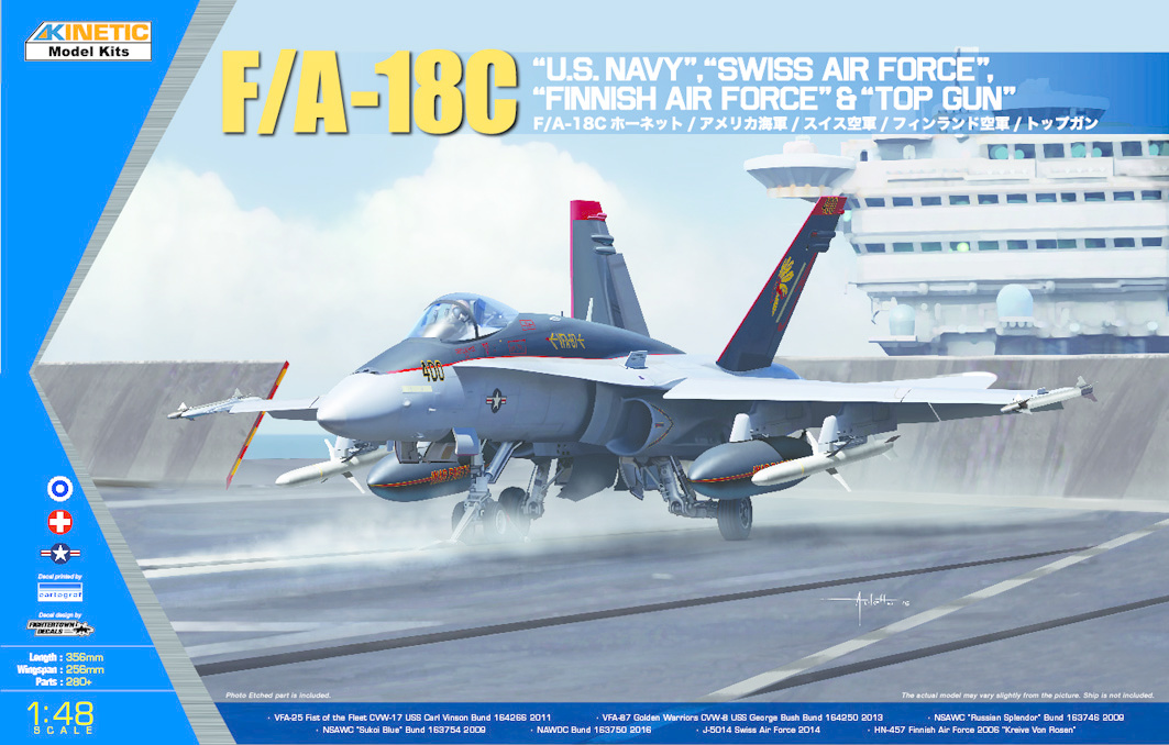 Kinetic F/A-18C Us Navy, Swiss Airforce, Finnish Airforce & Topgun - Scale 1/48 - Kinetic - KIN48031