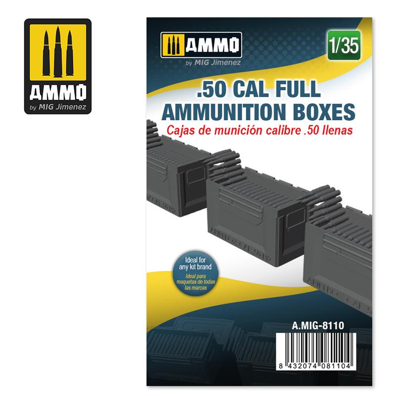 Ammo by Mig Jimenez .50 cal Full Ammunition Boxes - Scale 1/35 - Ammo by Mig Jimenez - A.MIG-8110