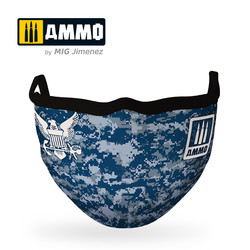 "Ammo Face Mask ""Navy Blue Camo "" (Hygienic Protective Mask 100% Polyester) - Ammo by Mig Jimenez - A.MIG-8073"