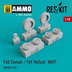 F4U Corsair / F6F Hellcat NAVY wheels set - Scale 1/48 - Reskit - RS48-0106