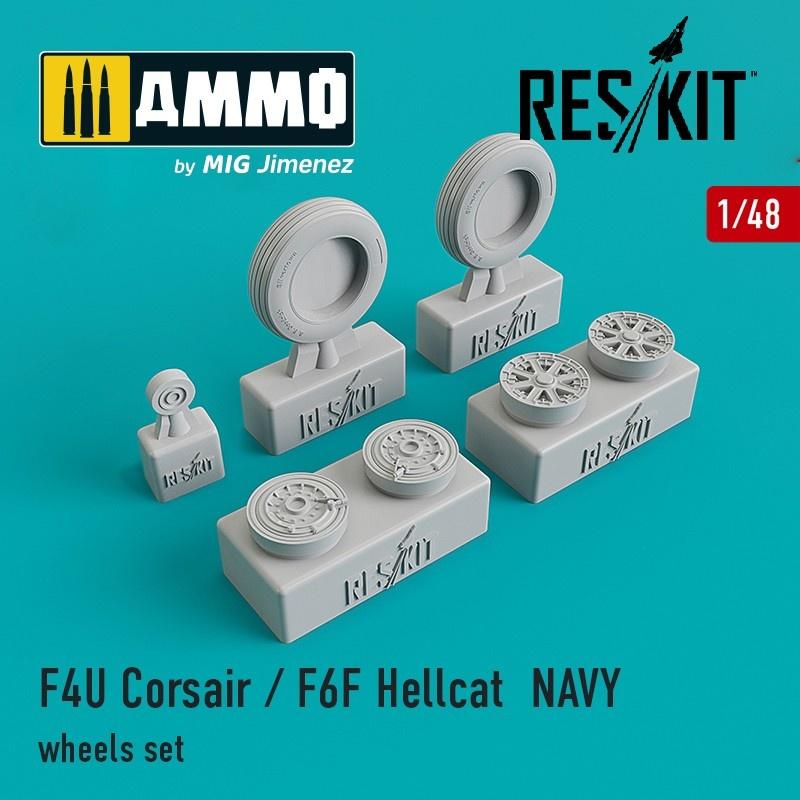Reskit F4U Corsair / F6F Hellcat NAVY wheels set - Scale 1/48 - Reskit - RS48-0106